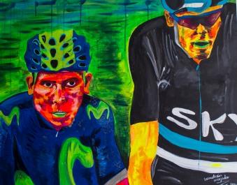 Retrato de dos héroes modernos. Medidas: 100 cm x80 cm. Acrílico sobre lienzo.