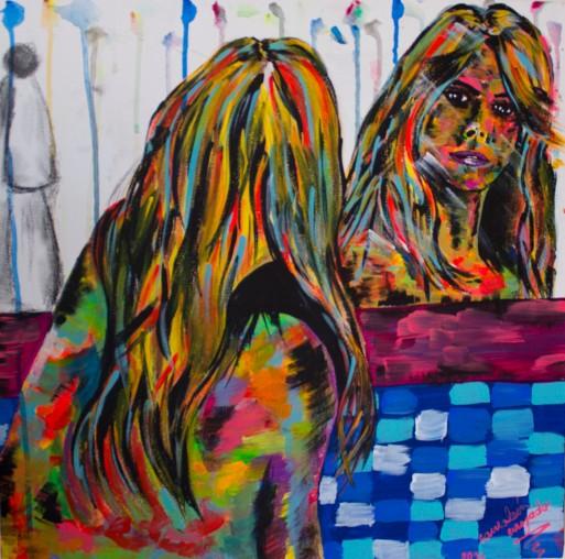 Aquella extraña en el espejo. Medidas 50 cm x 50 cm. Acrílico sobre lienzo.