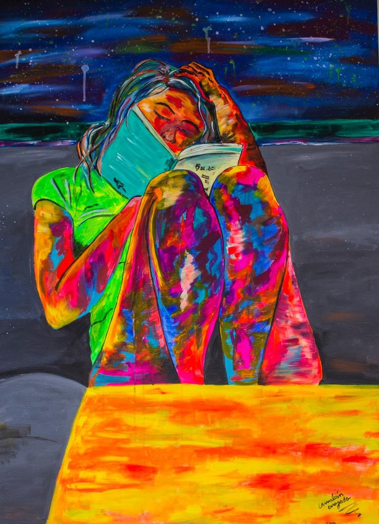 Mujer leyendo. Medidas: 140 cm x100 cm. Acrílico sobre lienzo.
