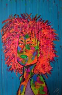 Mujer en color. Medidas: 80 cm x120 cm. Acrílico sobre lienzo.